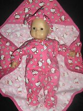 "3pc Hello Kitty Sleeper Blanket 15"" Doll Clothes Handmade To Fit Bitty Baby"