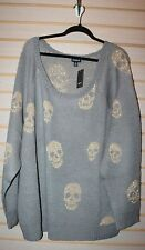 NEW TORRID WOMENS PLUS SIZE 3X GRAY W GOLD SKULLS LUREX RAGLAN SWEATER SHIRT TOP