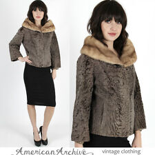 Vintage 60s Persian Lamb Coat Mink Fur Stroller Cape Opera Cropped Plush Jacket