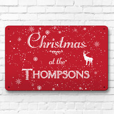 Personalised Red Christmas family name decor metal sign A4 picture wall art