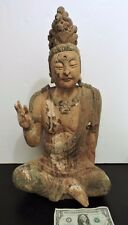 ANTIQUE CHINESE BUDDHA CARVED WOOD GUANYIN KWAN-YIN SCULPTURE STATUE