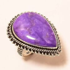 RESPLENDENT SUGILITE ETHNIC STYLE 925 SILVER RING 8 R-84