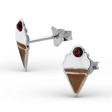STERLING SILVER & CRYSTAL CHERRY ICE CREAM STUD EARRINGS - Retro Kitsch Boxed