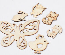 1 Set Of 6 Animal Wood Moccasin Cute Pendants  DIY Jewelry Craft Making