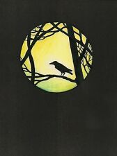 1.5x2 DOLLHOUSE MINIATURE PRINT OF PAINTING RYTA 1:12 SCALE HAUNTED MOON SPOOKY