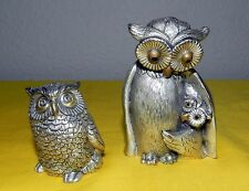 VTG SET OF 2 PELTRO PEWTER OWL FIGURINES GOLD BEAK & EYES ITALY HOOTIE BIRD RARE