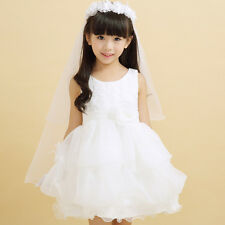 Girls Hair Accessories White Pearl Flower Children Princess Wedding Veil Kids
