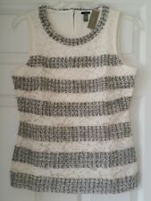 J. Crew Fringey top tweed lace G0356 Shell shirt Small Metalic Ivory $78 Party