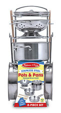 Melissa and Doug Let's Play House! Pots and Pans Stainless Steel #4265 BRAND NEW