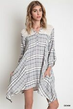 Chic UMGEE Woven Lace Shirt Tunic Plaid  Long Sleeve FLOWY Knit Trapeze DRESS S