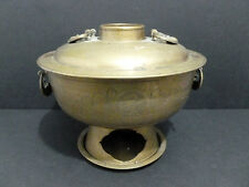BRASS ANTIQUE KOREA (CHINA/JAPAN) HOT POT BOILER CARVED LANDSCAPE/CHARACTER 5888