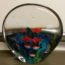 Vintage Art Glass Aquarium Fish Heavy Paperweight Window Art Decor Free Shipping