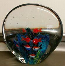 Vintage Art Glass Aquarium Fish Heavy Paperweight Window Art Decor Free Shipping