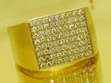 MR54- SOLID 9ct Gold NATURAL Diamond HUGE Mens RING 1.00ct  Pave set size T