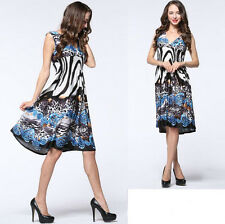 New Women lady V Sleeveless Evening Party Formal Summer dress Plus Size 24