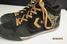 Converse Men's Coolidge Mid Skate shoe  9.5 M  Black/Gold Suede Leather Low Use