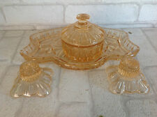 Vintage 1950 Clear Orange Glass Dressing Table Vanity Set Candle Sticks Pot Tray