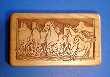 Western Decor Horses Mesa Dominos Set Laser Engraved Cherry Wood Box USA