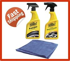 3 pcs FORMULA 1 KIT WHEEL CLEANER TYRE SHINE AUTO DETAIL CLOTH WAX PANEL WASH