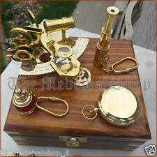 ANTIQUE MARITIME COLLECTIBLE NAUTICAL BRASS GERMAN SEXTANT WOODEN BOX GIFT SET