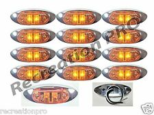"12 NEW 4""x1.5"" AMBER LED SURFACE MOUNT CLEARANCE MARKER LIGHT CHROME BEZEL 2692A"