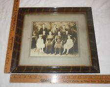 Antique Wood Picture Frame Tiger Stripe Photograph of Family Vtg Old FITS 12 x14