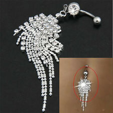 Body Surgical Piercing Jewelry Crystal Steel Tassel Navel Ring Belly Button Bar