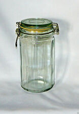 """Vintage Clear Panel Glass Wire Bail Canister Storage Jar 8"""" T"""