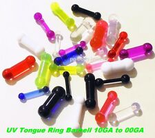 1PC 10g to 00G UV Reactive Acrylic Tongue Ring Barbell (Choose Color/Size)
