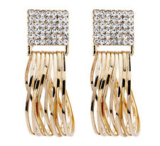 CLIP ON EARRINGS - gold plated drop earring with crystals & gold hoops - Bria C