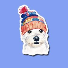 Cute dog Maltese with hat Sticker Skateboard Guitar Bike Car Vinyl Laptop Decal