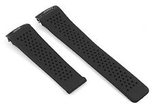 22MM BLACK RUBBER STRAP BAND BELT BRACELET + STEEL PART FIT TAG GRAND CARRERA