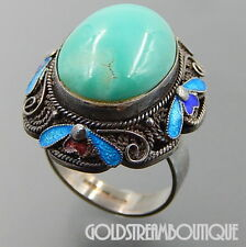 VINTAGE CHINESE BJ 925 SILVER FILIGREE OVAL TURQUOISE ENAMEL COCKTAIL RING 6.75