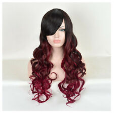 Long Black Wine Red Ombre Cherry Curly Synthetic Hair Women's Mermaid Wig Wigs