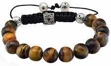 Mens Womens Tigers Eye Spiritual Beads Prayer Bracelet Adj Macrame Silver Beads