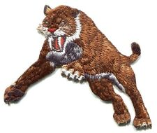 SABER-TOOTHED TIGER: IRON-ON PATCH -c p4011 saber tooth sabertooth -dinosaur