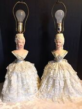 """2 Vintage 1950's Chalkware 1/2 """"Doll"""" 2-Bulb Cream Lace Matching Victorian Lamps"""