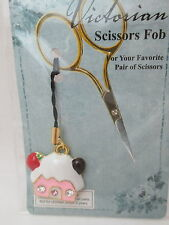 Victorian Scissors FOB Enameled House Charm - Pink with white Roof