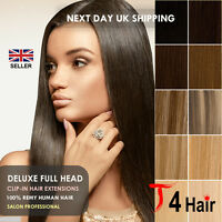 Thick Deluxe Double Wefted Weft Clip In Remy Human Hair Extensions Full Head