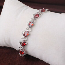 Lovely Fish Ruby/Garnet Red Sapphire White Gold Filled Lady Bracelet Bangle Cuff