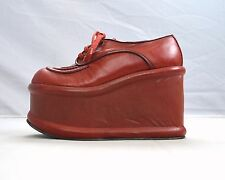 Vintage ELDITAS Red Leather Platform High Heel Lace Up Oxford Shoes Womens 6