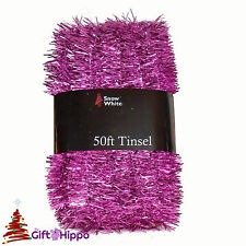 Christmas Decorations - Pink 50ft Great Value Tinsel -  50ft x 3cm