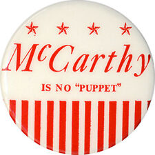 1968 Eugene McCarthy IS NO PUPPET Anti Humphrey Button (2367)