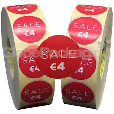 6000 x 'SALE €4' EURO Retail Self Adhesive Shop Price Labels Stickers 35mm