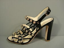 Chanel Black Patent Strappy Gold Camellia Sandals Shoes Chunky Heels 37/6.5 New