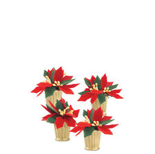Dept 56 POTTED POINSETTIAS Set of 4 802460 NEW D56 Christmas Village Accessory