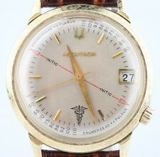 Vintage Men's 14k Yellow Gold Bulova Accutron Watch Movement 218 w/ Leather Band