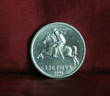 1991 Lithuania 1 Centas World Coin KM85 Amor clad Knight on Horse with Sword