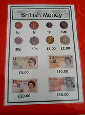 BRITISH MONEY - A4 POSTER - COINS & NOTES- DISPLAY/ROLEPLAY/MATHEMATICS/VALUES