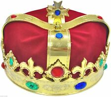 Gold Red Royal Crown King Queen Prince Costume Medieval Renaissance Adult